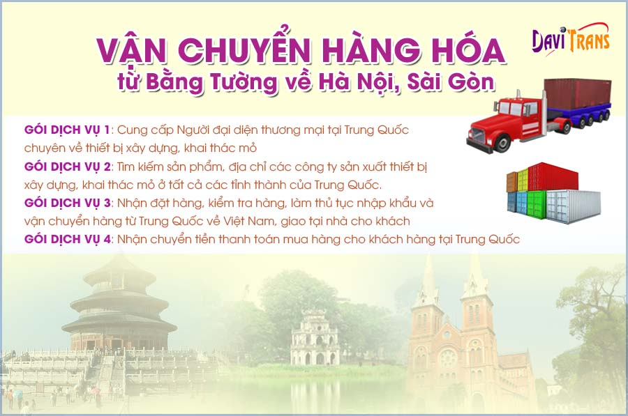 Dịch vụ nhận vận chuyển hàng hóa từ Bằng Tường về Hà Nội, Sài Gòn