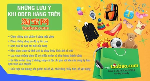 Lưu ý khi order hàng trên Taobao